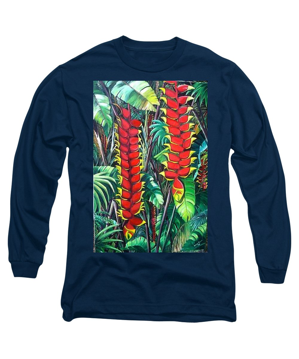Heliconia Painting Hanging Red Heliconia Tropical Painting Long Sleeve T-Shirt featuring the painting Heliconia Rostrata by Karin Dawn Kelshall- Best