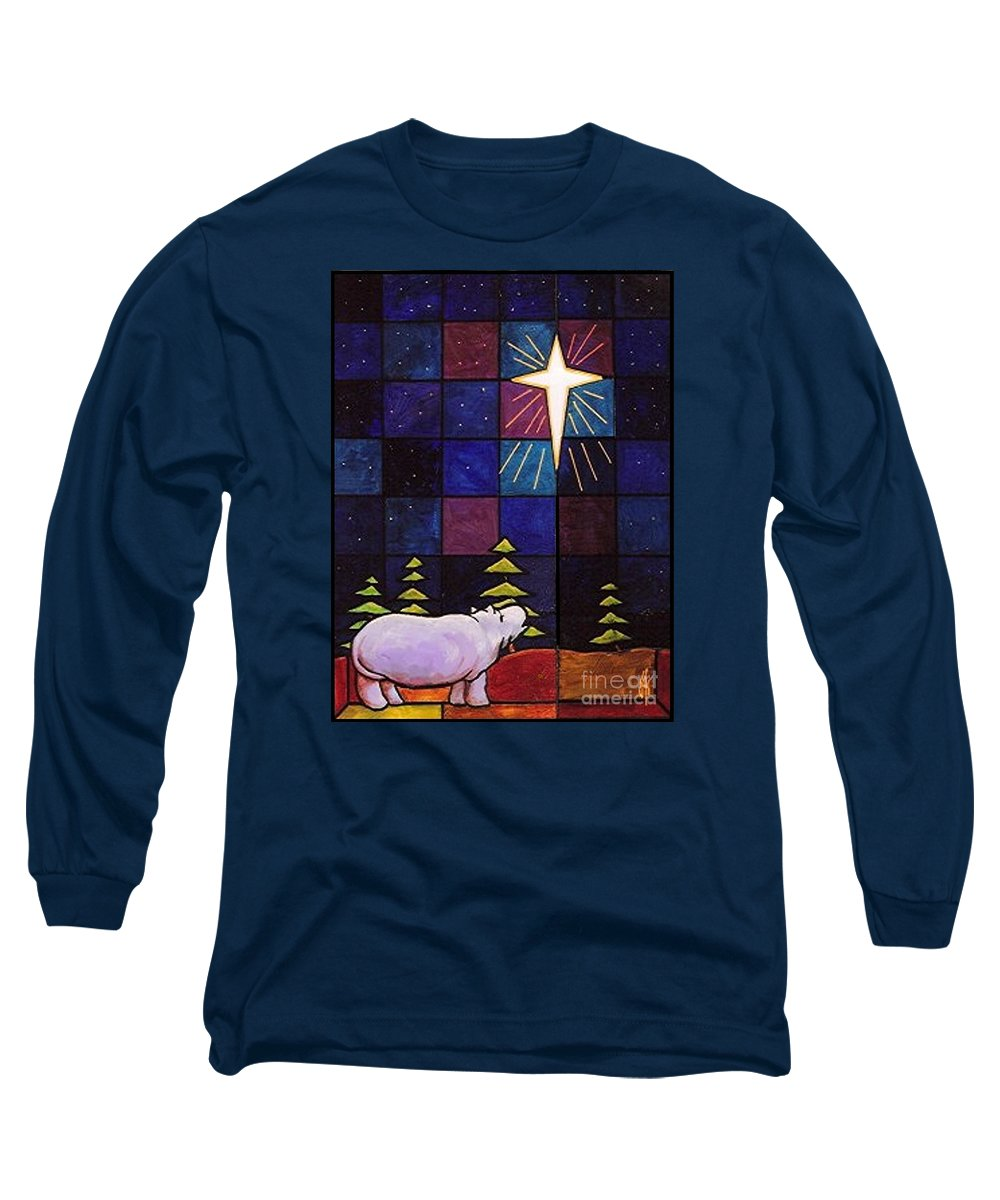 Christmas Long Sleeve T-Shirt featuring the painting Hippo Awe And Wonder by Jim Harris