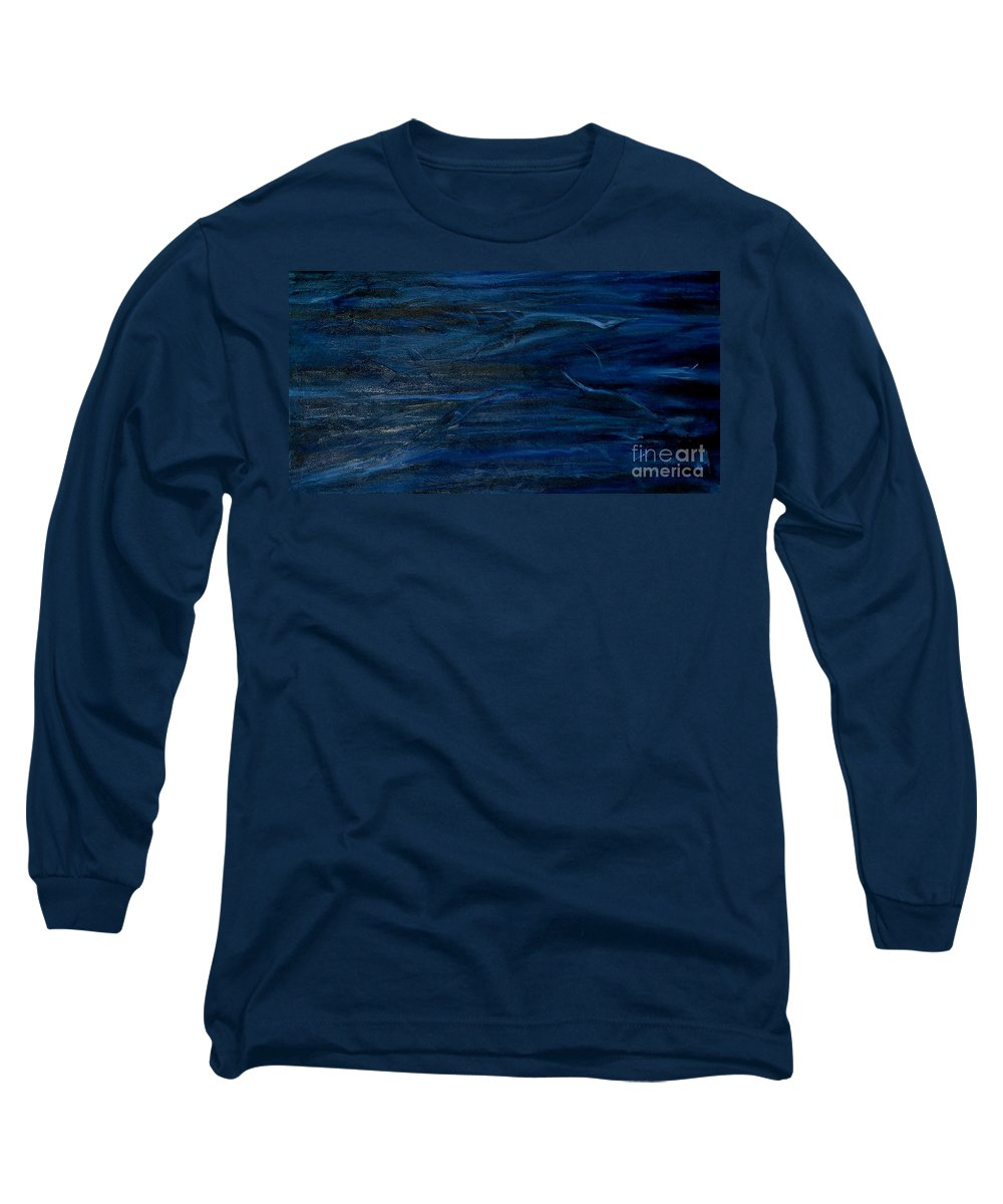 Abstract Long Sleeve T-Shirt featuring the painting Immense Blue by Silvana Abel