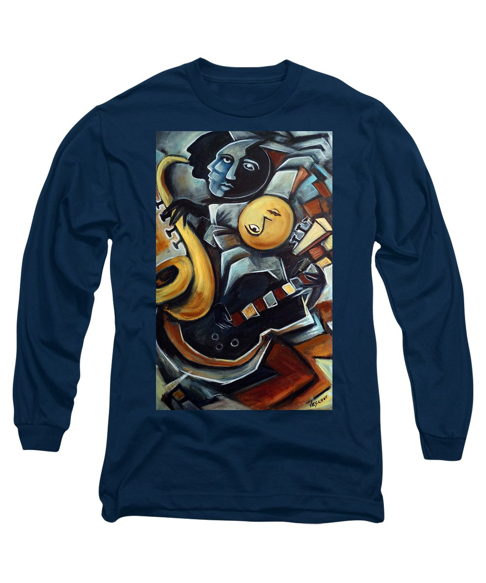 Cubism Long Sleeve T-Shirt featuring the painting Indigo Blues by Valerie Vescovi