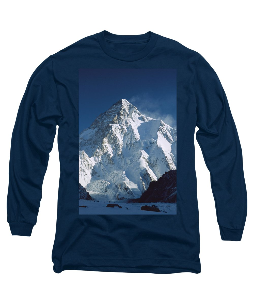 Feb0514 Long Sleeve T-Shirt featuring the photograph K2 At Dawn Pakistan by Colin Monteath