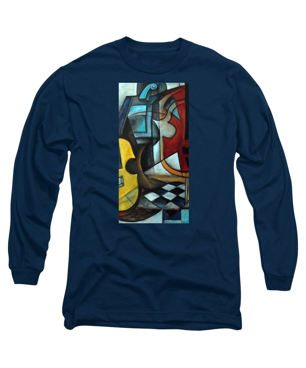 Abstract Long Sleeve T-Shirt featuring the painting La Musique 1 by Valerie Vescovi