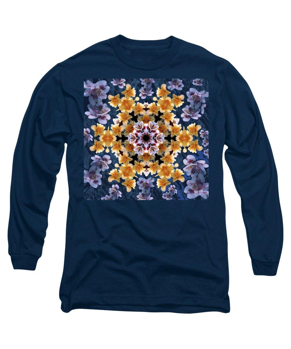 Mandala Long Sleeve T-Shirt featuring the digital art Mandala Alstro by Nancy Griswold