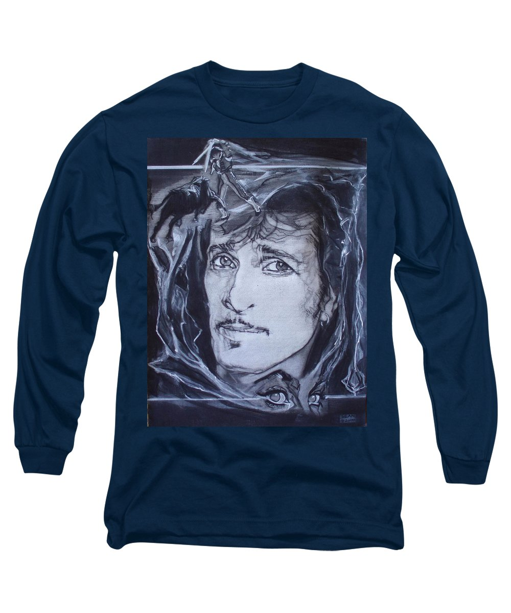 Charcoal;mink Deville;new York City;gina Lollabrigida Eyes ;cat Eyes;bullfight;toreador;swords;death;smoke;blues Long Sleeve T-Shirt featuring the drawing Mink Deville - Coup De Grace by Sean Connolly