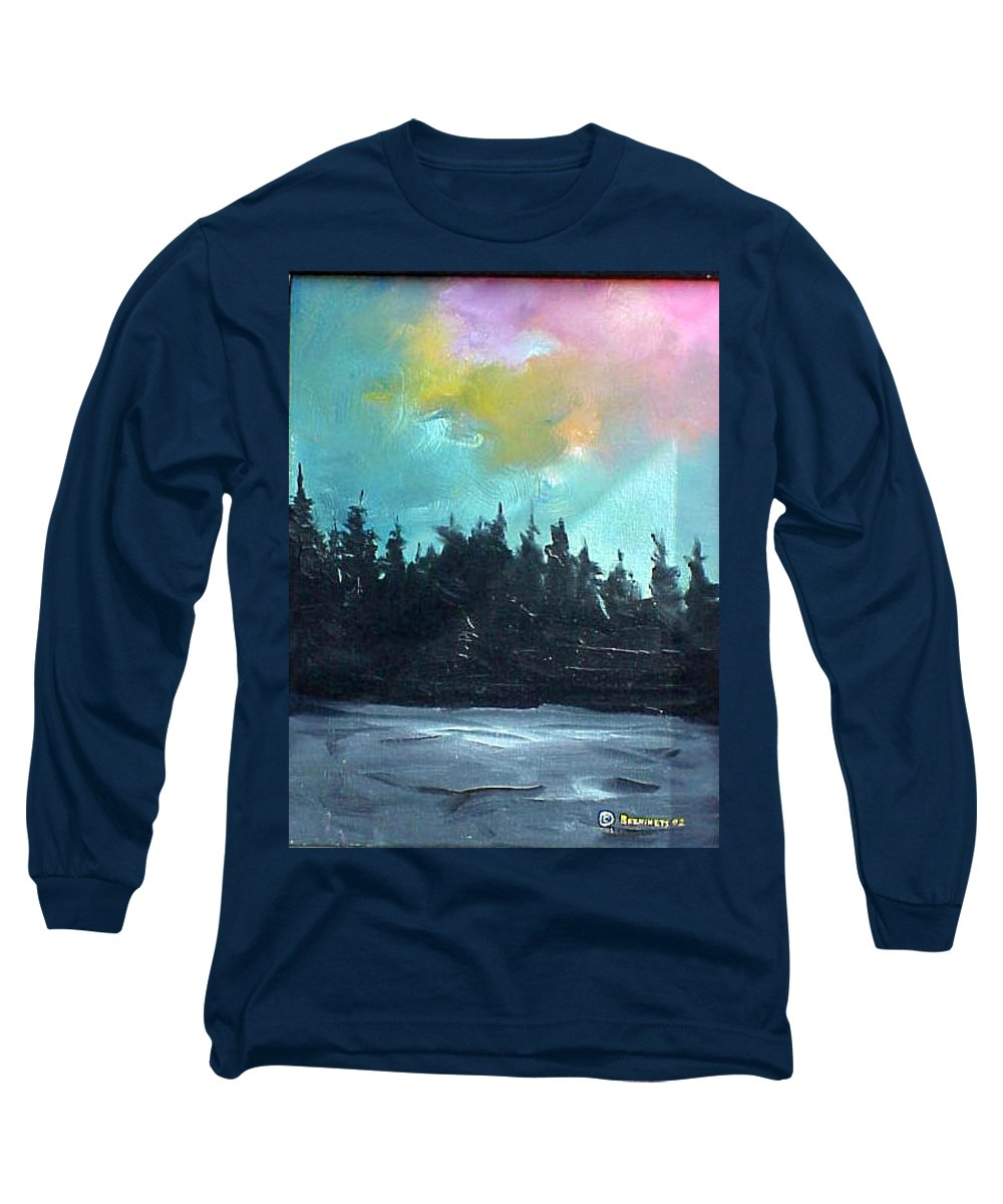 Landscape Long Sleeve T-Shirt featuring the painting Night River by Sergey Bezhinets
