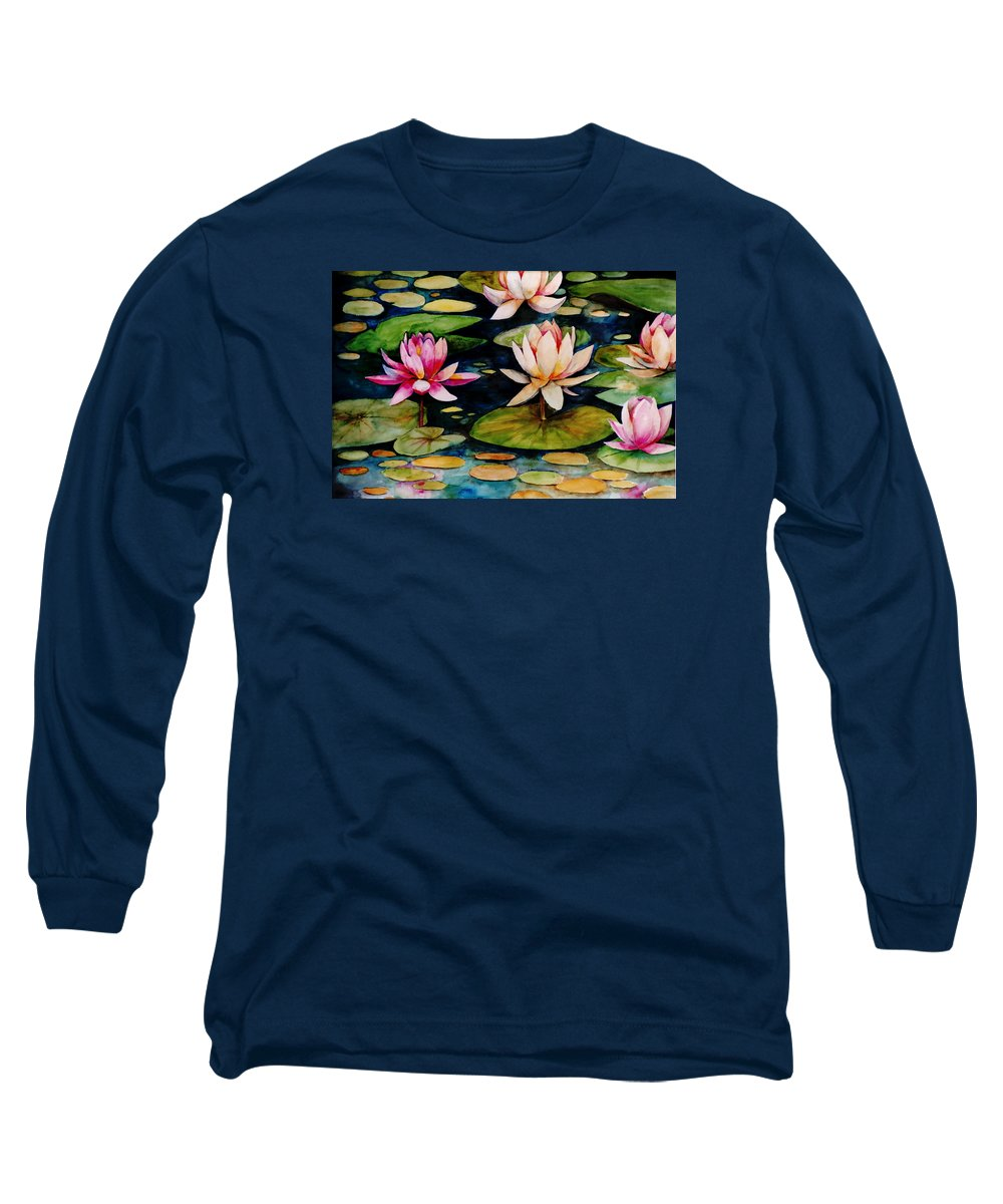 Lily Long Sleeve T-Shirt featuring the painting On Lily Pond by Jun Jamosmos