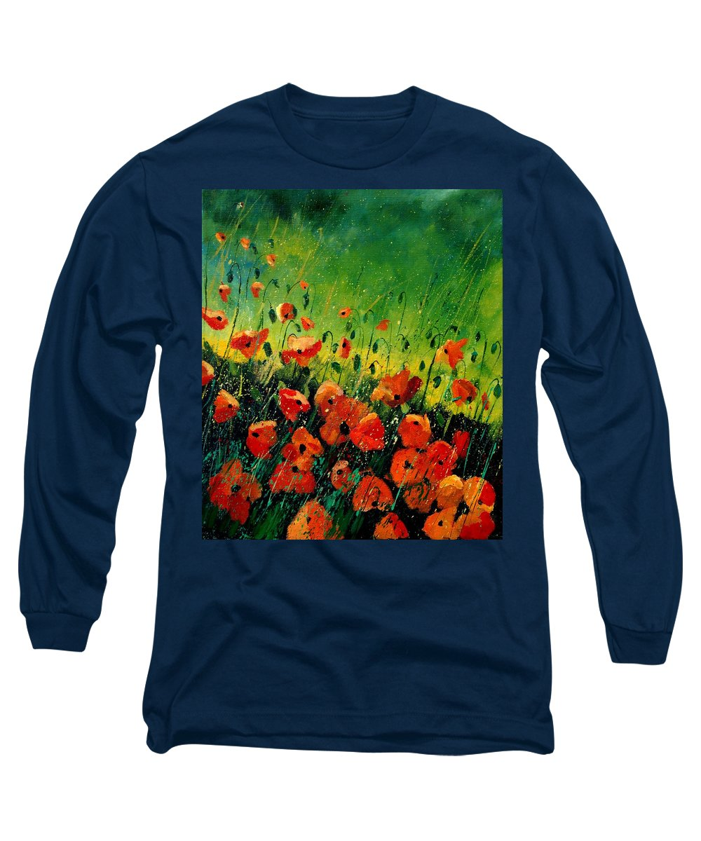 Poppies Long Sleeve T-Shirt featuring the painting Orange Poppies by Pol Ledent