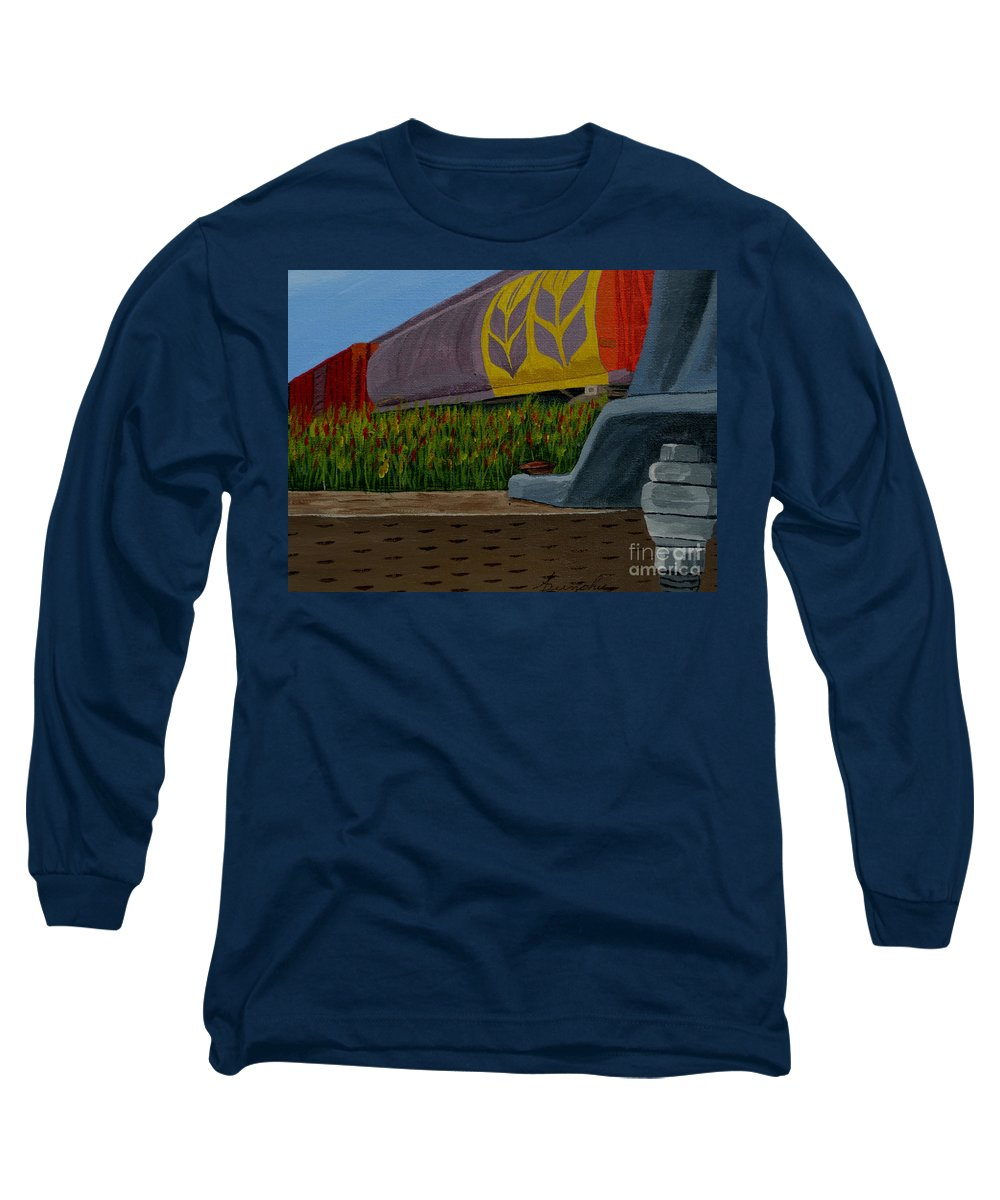 Train Long Sleeve T-Shirt featuring the painting Passing The Wild Ones by Anthony Dunphy
