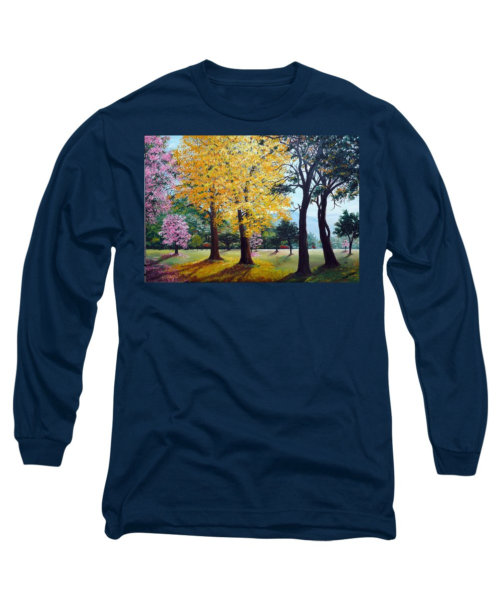 Tree Painting Landscape Painting Caribbean Painting Poui Tree Yellow Blossoms Trinidad Queens Park Savannah Port Of Spain Trinidad And Tobago Painting Savannah Tropical Painting Long Sleeve T-Shirt featuring the painting Poui Trees In The Savannah by Karin Dawn Kelshall- Best