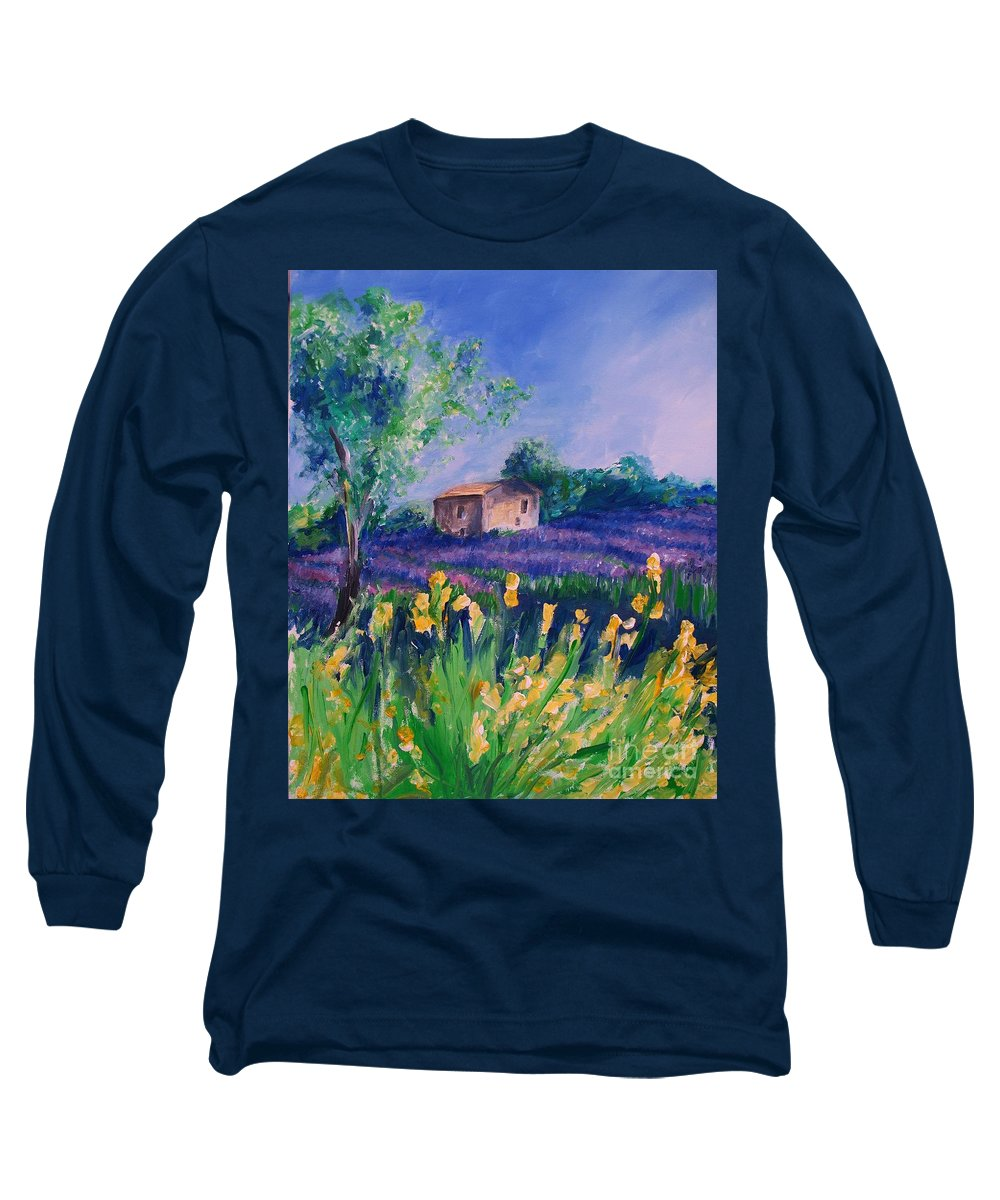 Floral Long Sleeve T-Shirt featuring the digital art Provence Yellow Flowers by Eric Schiabor