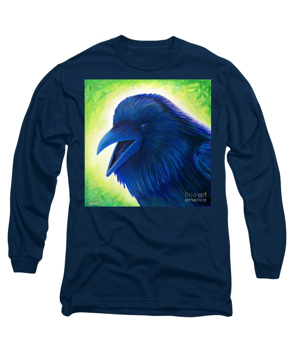 Raven Long Sleeve T-Shirt featuring the painting Raaawk by Brian Commerford