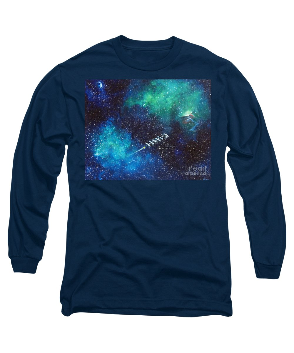 Spacescape Long Sleeve T-Shirt featuring the painting Reaching Out by Murphy Elliott