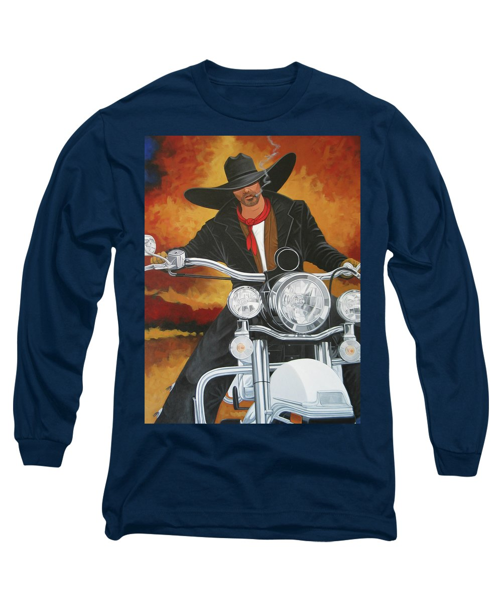 Cowboy On Motorcycle Long Sleeve T-Shirt featuring the painting Steel Pony by Lance Headlee