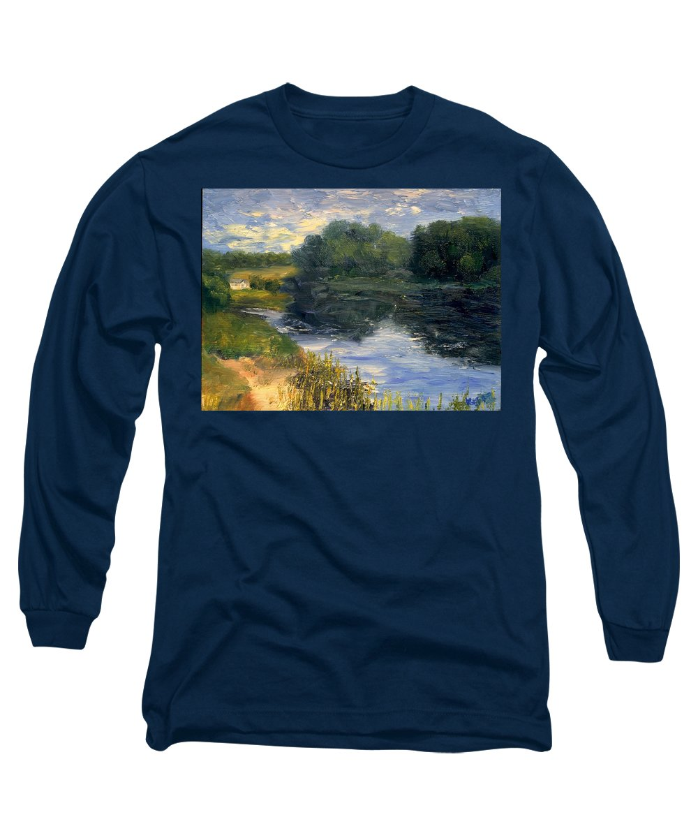 Landscape Long Sleeve T-Shirt featuring the painting Summer At Jackson Lake by Gail Kirtz