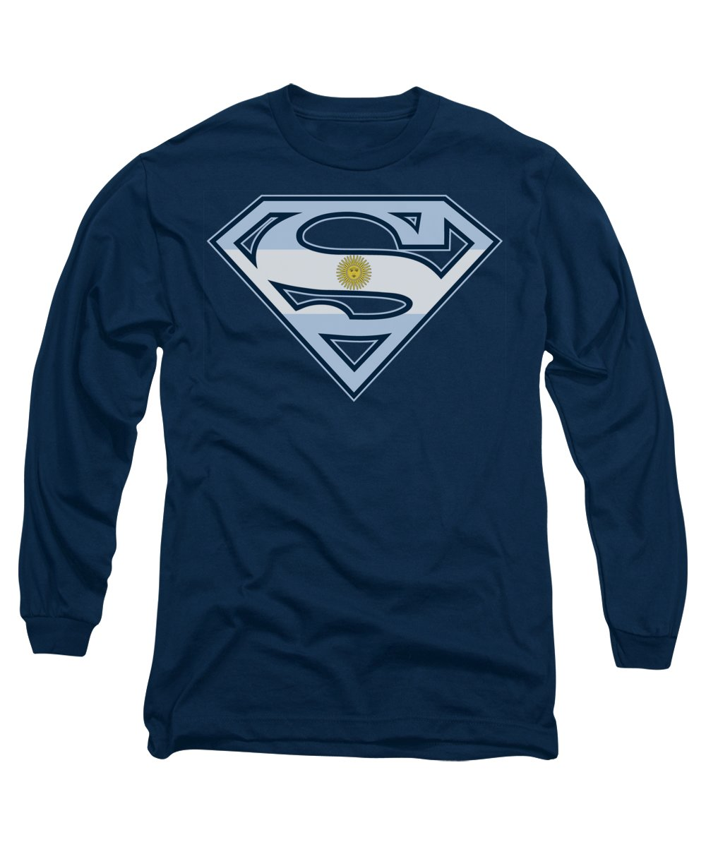 Superman Long Sleeve T-Shirt featuring the digital art Superman - Argentinian Shield by Brand A