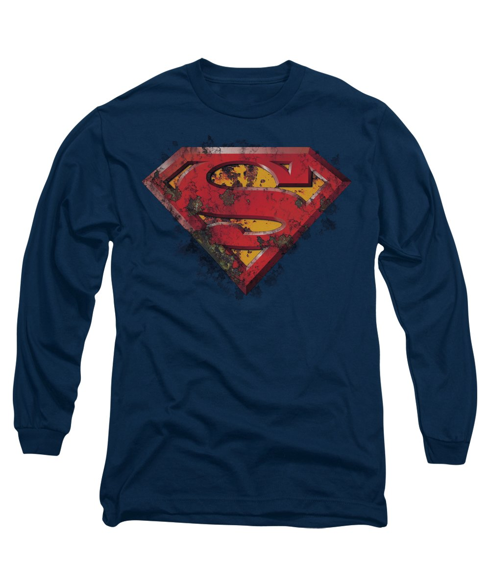 Superman Long Sleeve T-Shirt featuring the digital art Superman - Rusted Shield by Brand A