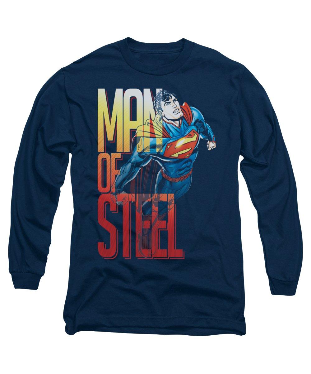 Superman Long Sleeve T-Shirt featuring the digital art Superman - Steel Flight by Brand A