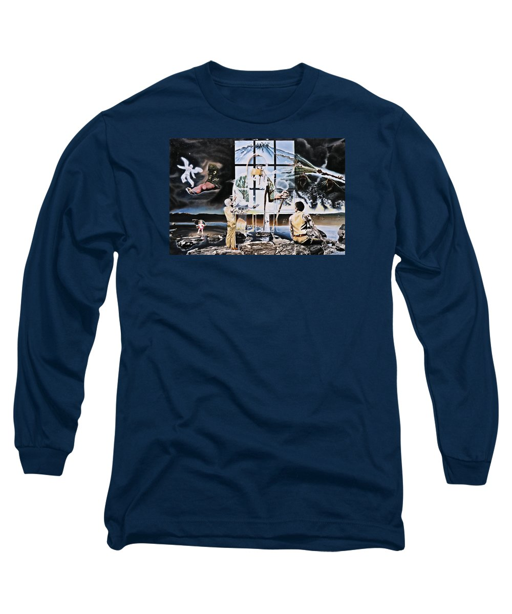 Surreal Long Sleeve T-Shirt featuring the painting Surreal Windows Of Allegory by Dave Martsolf
