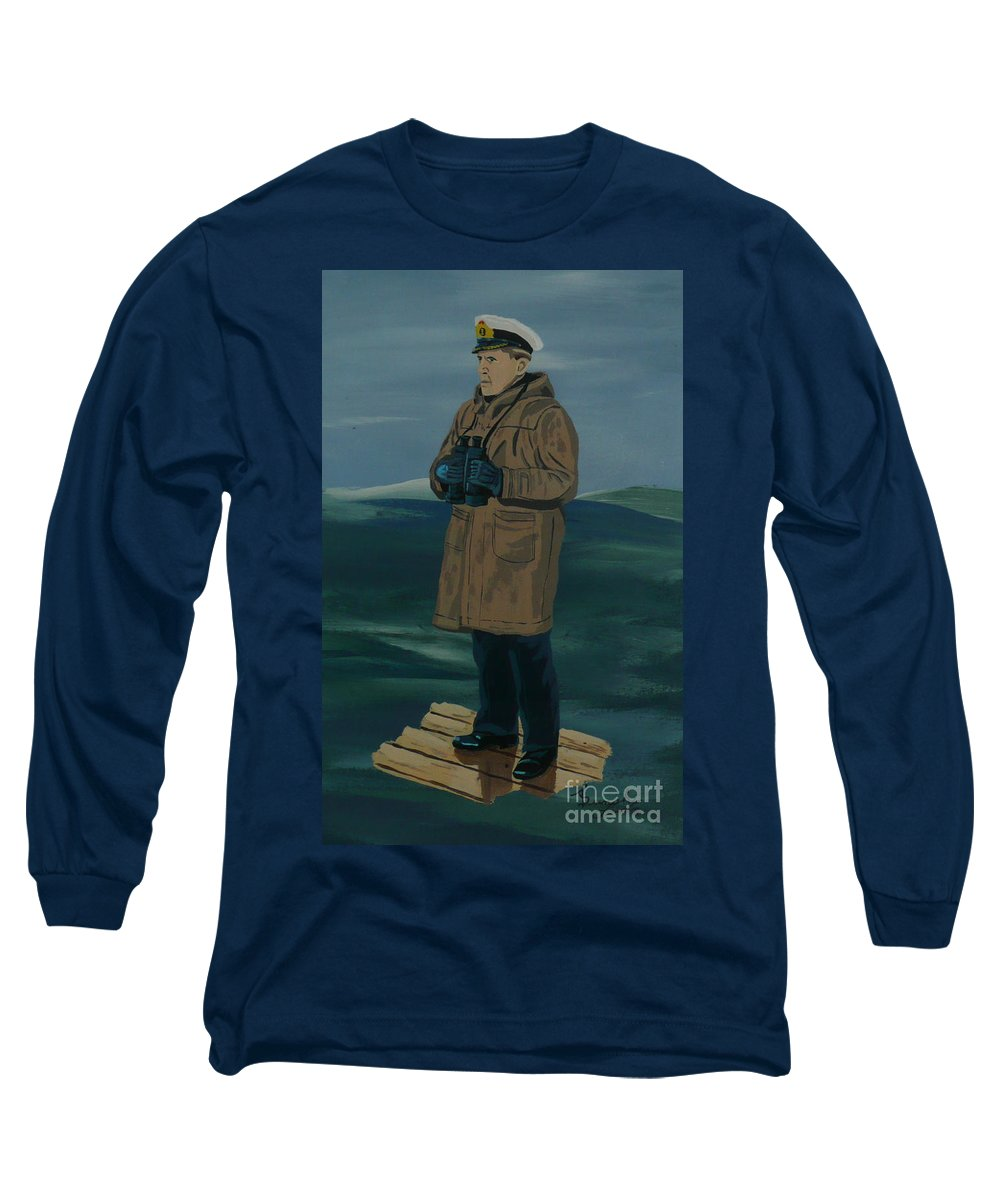Captain Long Sleeve T-Shirt featuring the painting The Captain by Anthony Dunphy
