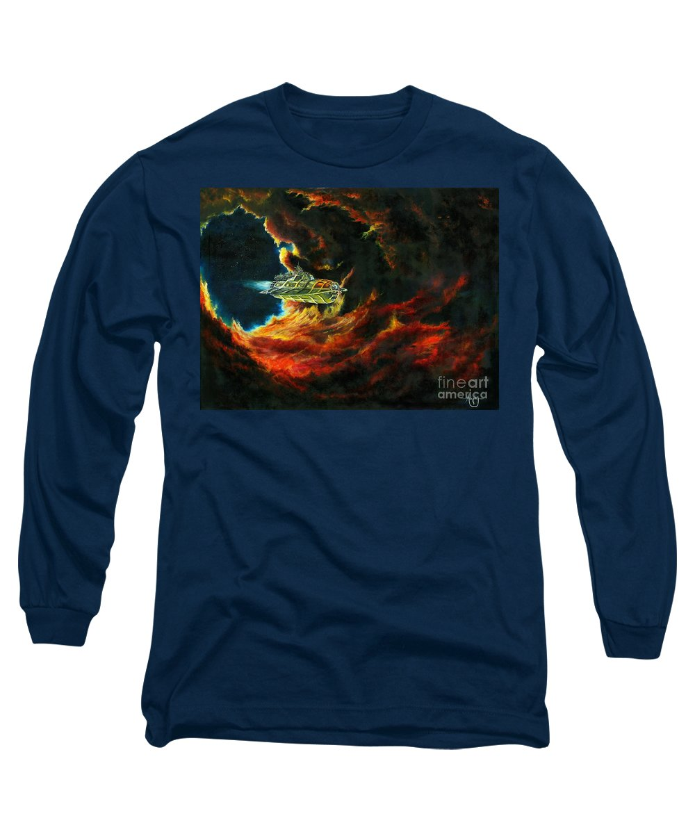 Devil Long Sleeve T-Shirt featuring the painting The Devil's Lair by Murphy Elliott