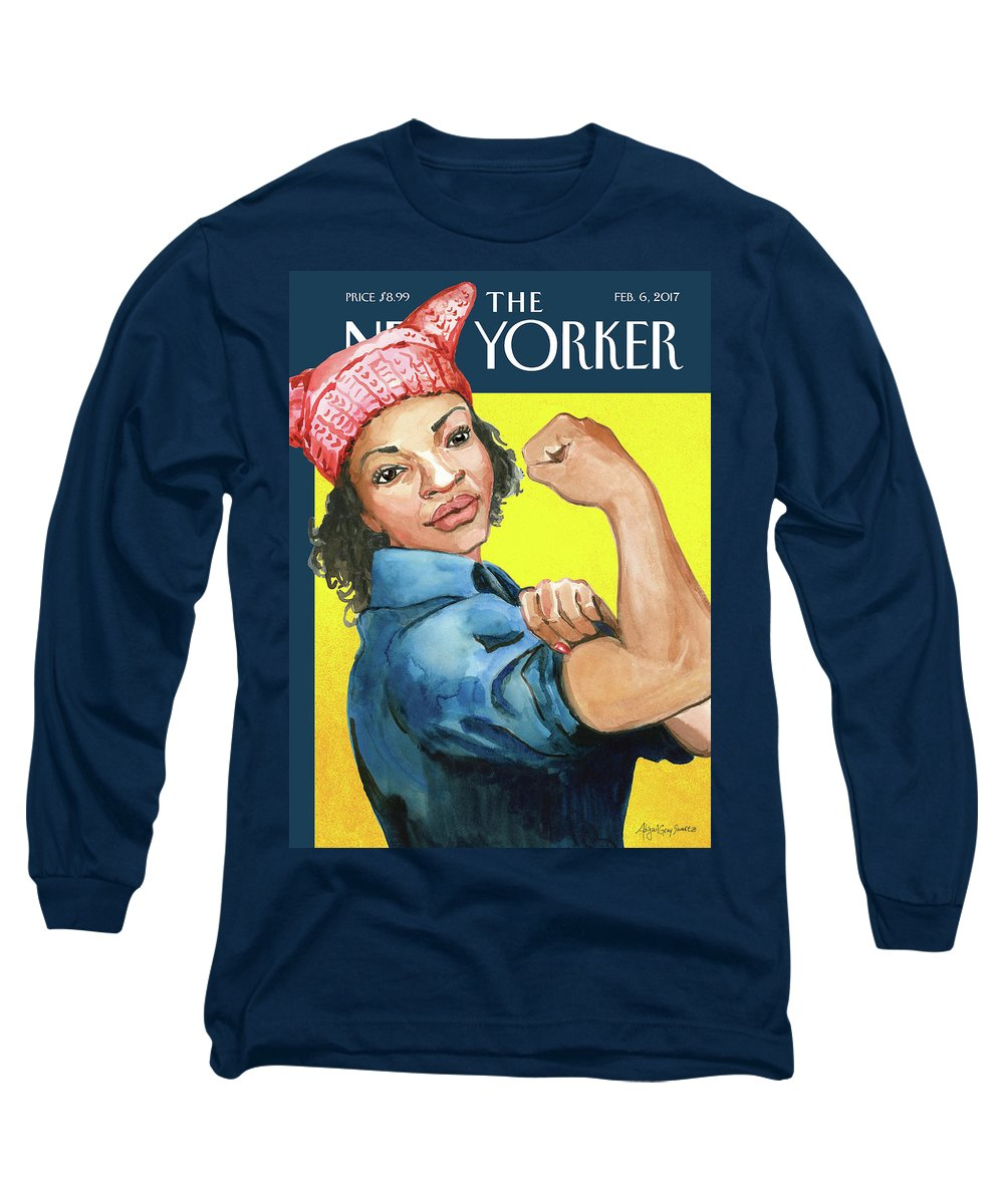 Pussy Hat Long Sleeve T-Shirt featuring the painting The March by Abigail Gray Swartz