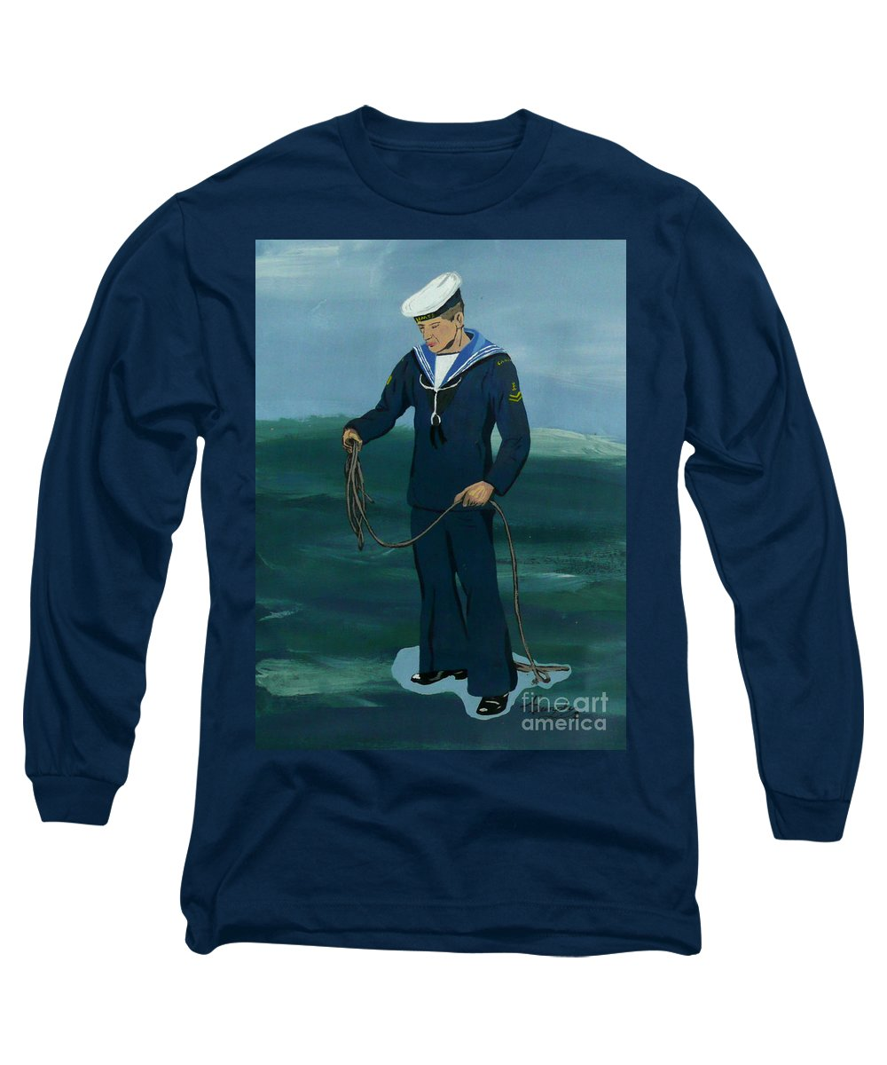 Sailor Long Sleeve T-Shirt featuring the painting The Sailor by Anthony Dunphy