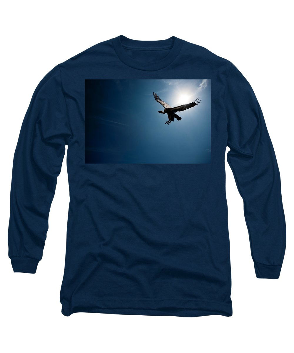 Vulture Long Sleeve T-Shirt featuring the photograph Vulture Flying In Front Of The Sun by Johan Swanepoel
