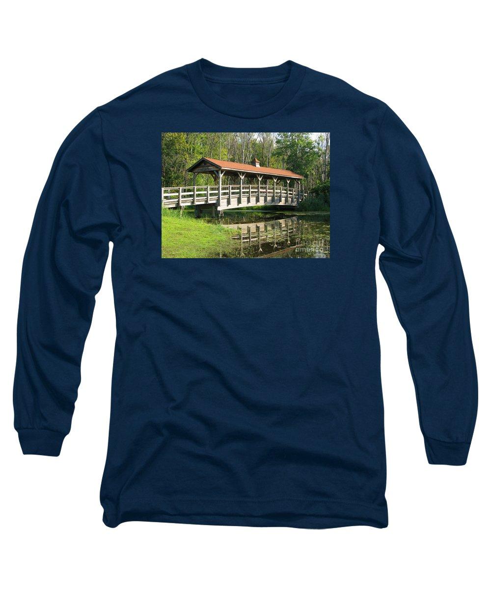 Bridge Long Sleeve T-Shirt featuring the photograph Wetland Footbridge by Ann Horn