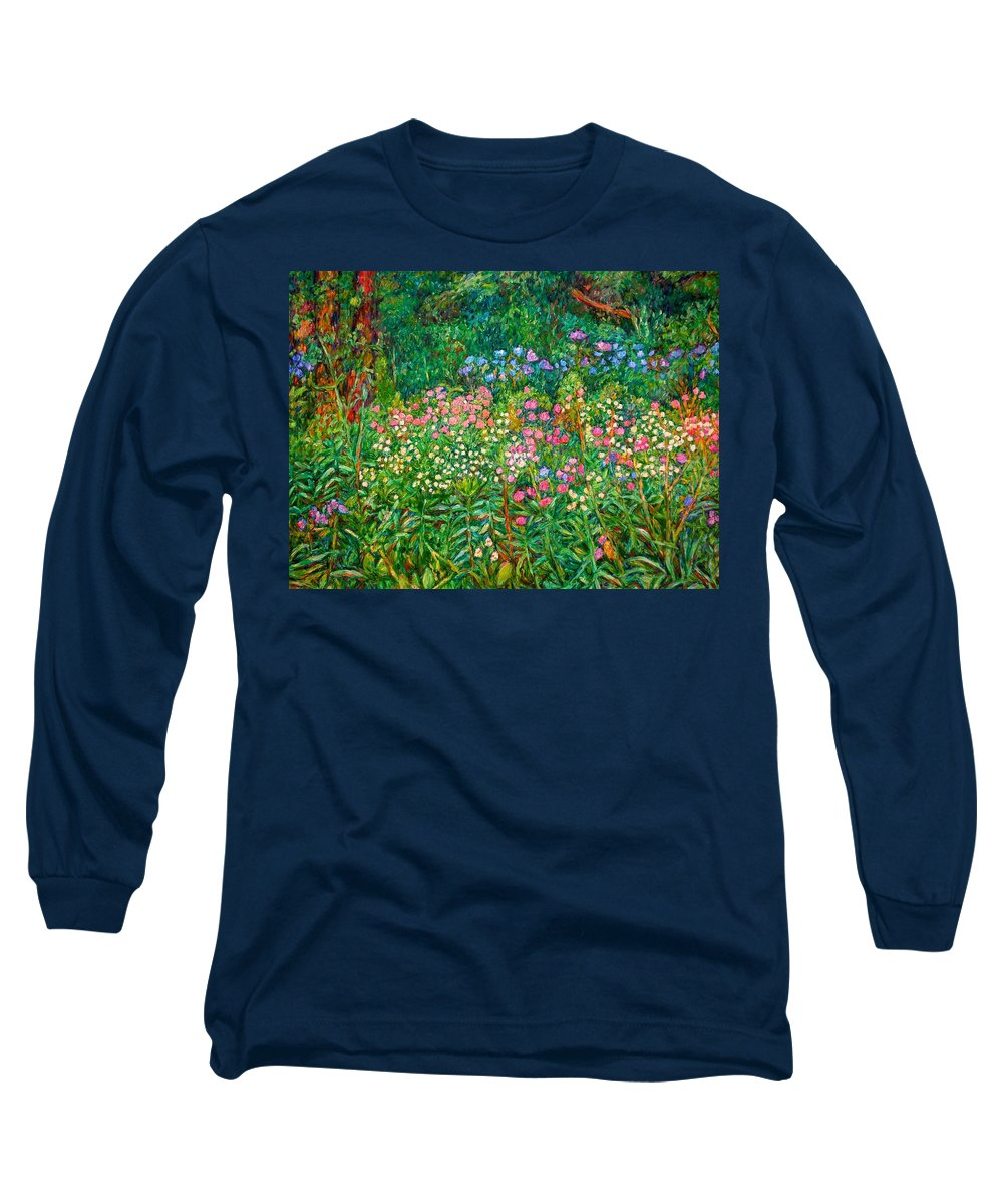 Floral Long Sleeve T-Shirt featuring the painting Wildflowers Near Fancy Gap by Kendall Kessler