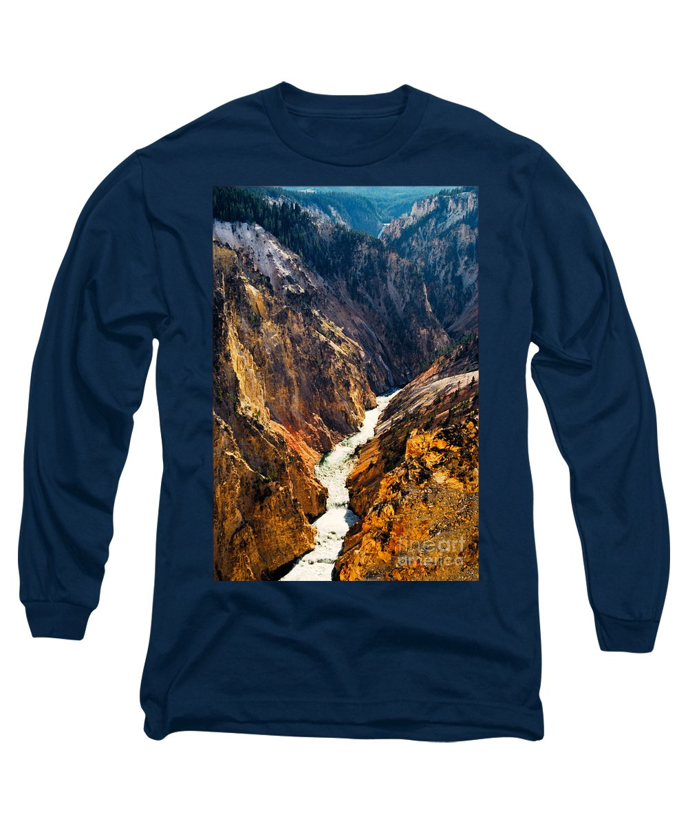 Yellowstone Long Sleeve T-Shirt featuring the photograph Yellowstone River by Kathy McClure