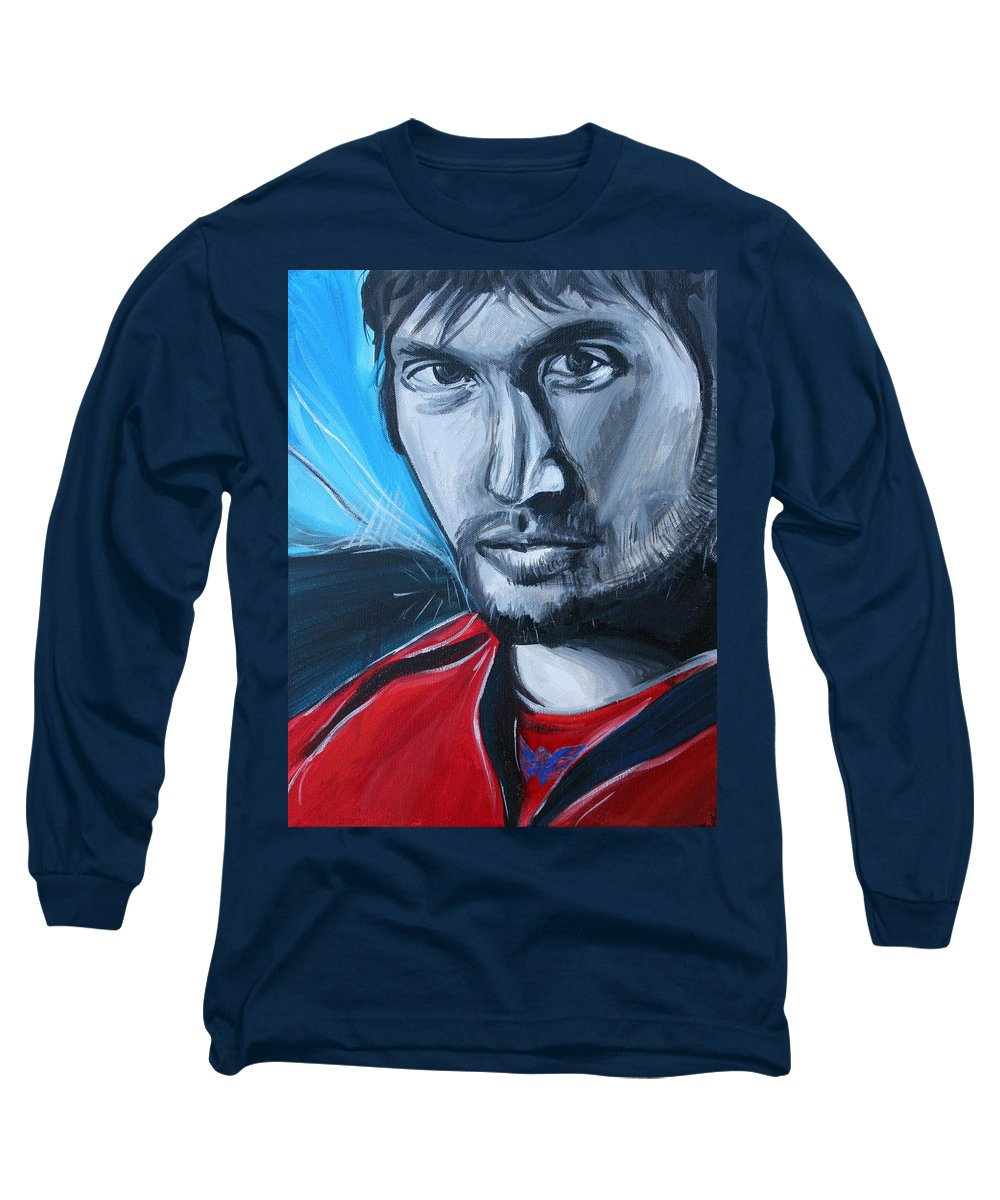 Alex Ovechkin Long Sleeve T-Shirt featuring the painting Ovechkin by Kate Fortin
