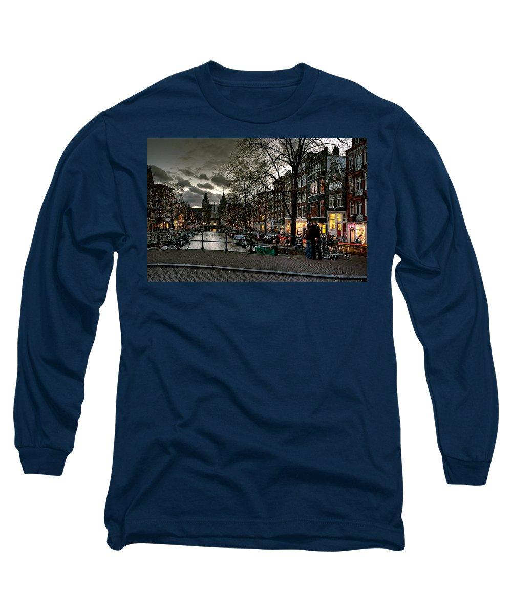 Holland Amsterdam Long Sleeve T-Shirt featuring the photograph Prinsengracht And Spiegelgracht. Amsterdam by Juan Carlos Ferro Duque
