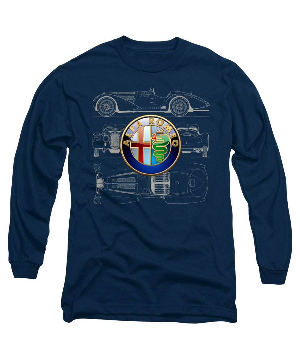 �wheels Of Fortune� By Serge Averbukh Long Sleeve T-Shirt featuring the photograph Alfa Romeo 3 D Badge Over 1938 Alfa Romeo 8 C 2900 B Vintage Blueprint by Serge Averbukh