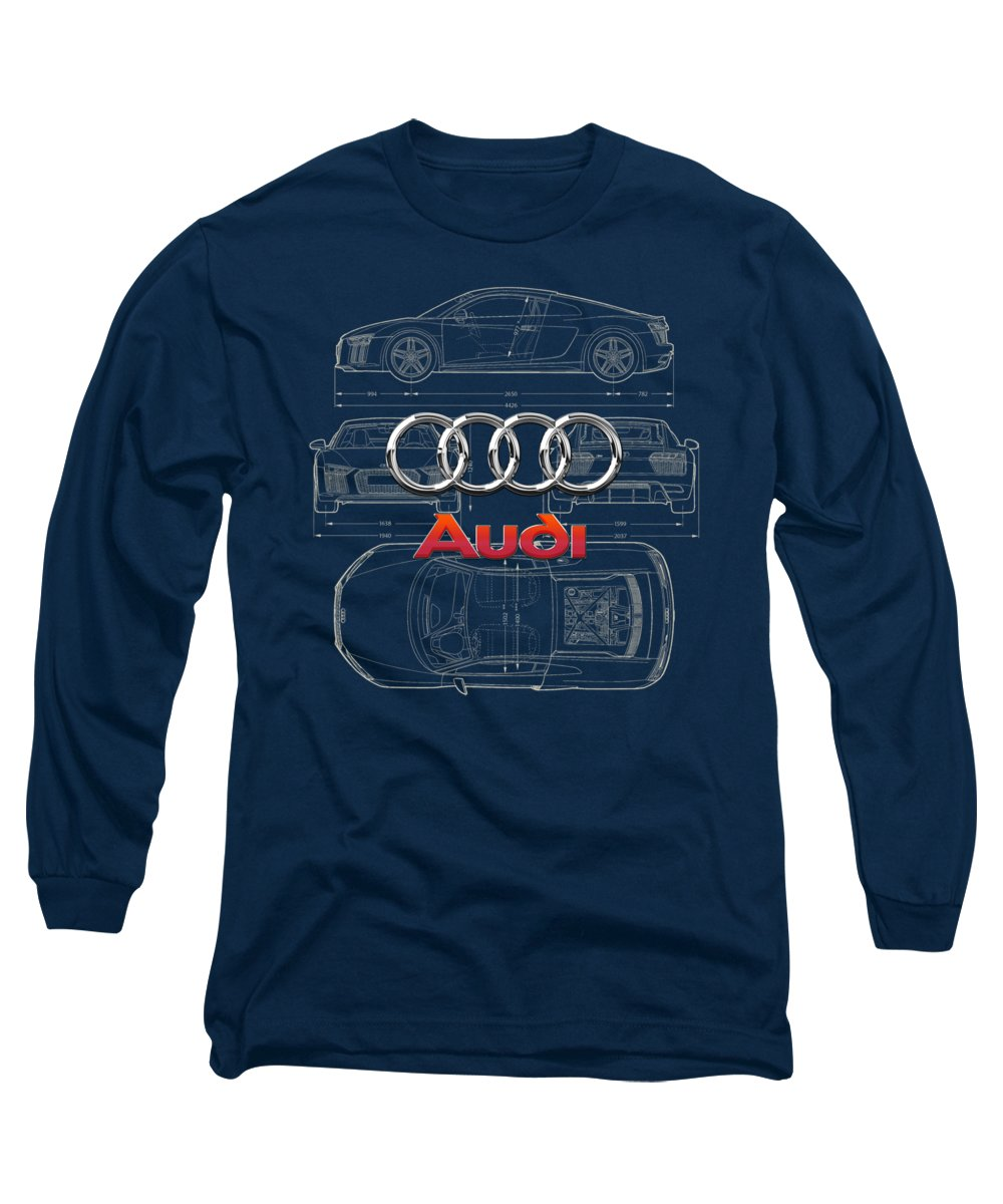 �wheels Of Fortune� Collection By Serge Averbukh Long Sleeve T-Shirt featuring the photograph Audi 3 D Badge Over 2016 Audi R 8 Blueprint by Serge Averbukh