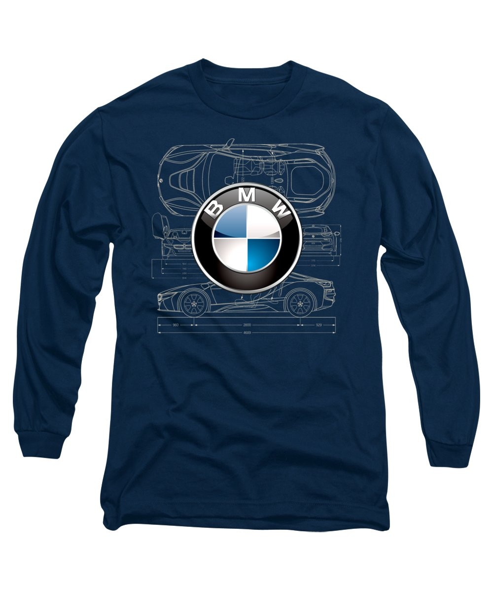 �wheels Of Fortune� By Serge Averbukh Long Sleeve T-Shirt featuring the photograph B M W 3 D Badge Over B M W I8 Blueprint by Serge Averbukh
