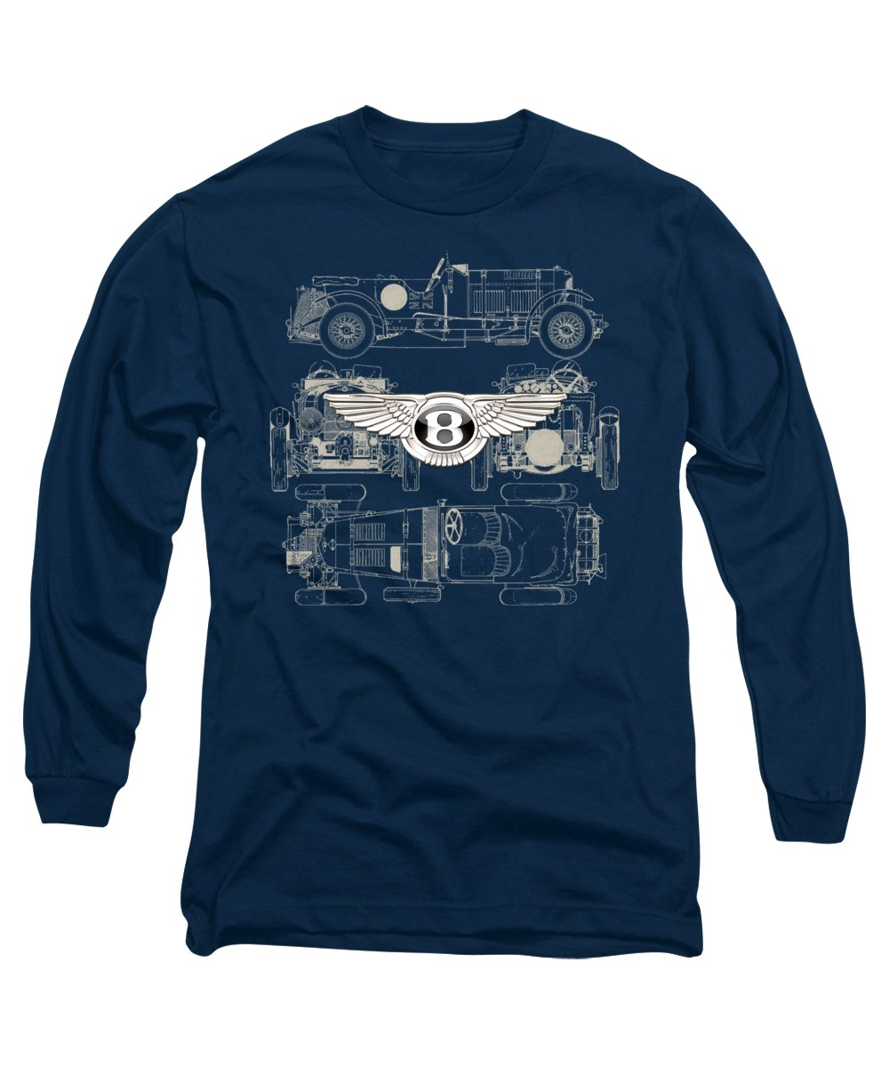 �wheels Of Fortune� By Serge Averbukh Long Sleeve T-Shirt featuring the photograph Bentley - 3 D Badge Over 1930 Bentley 4.5 Liter Blower Vintage Blueprint by Serge Averbukh