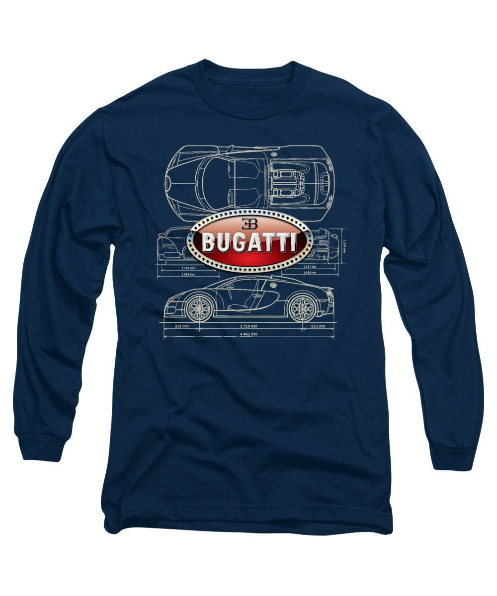 �wheels Of Fortune� By Serge Averbukh Long Sleeve T-Shirt featuring the photograph Bugatti 3 D Badge Over Bugatti Veyron Grand Sport Blueprint by Serge Averbukh