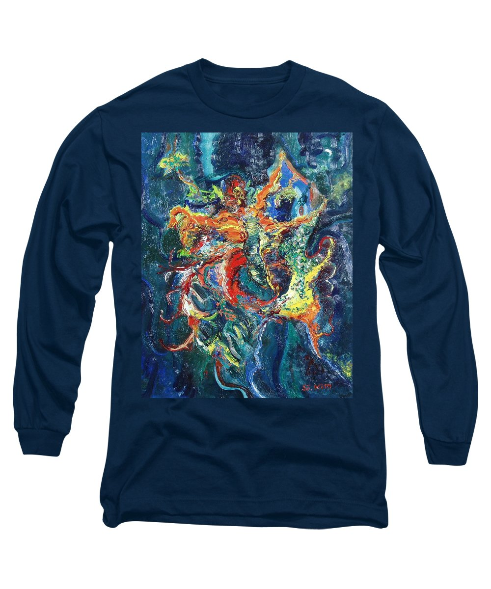 Butterfly Paintings Long Sleeve T-Shirt featuring the painting Dancing Butterflies by Seon-Jeong Kim