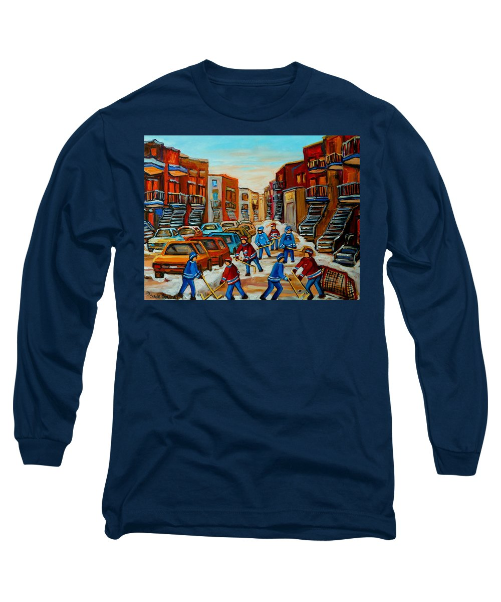 Heat Of The Game Long Sleeve T-Shirt featuring the painting Heat Of The Game by Carole Spandau