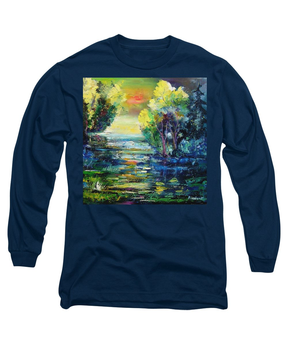Pond Long Sleeve T-Shirt featuring the painting Magic Pond by Pol Ledent
