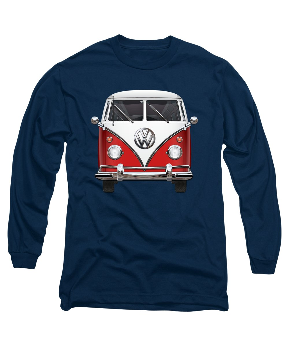 'volkswagen Type 2' Collection By Serge Averbukh Long Sleeve T-Shirt featuring the photograph Volkswagen Type 2 - Red And White Volkswagen T 1 Samba Bus Over Green Canvas by Serge Averbukh