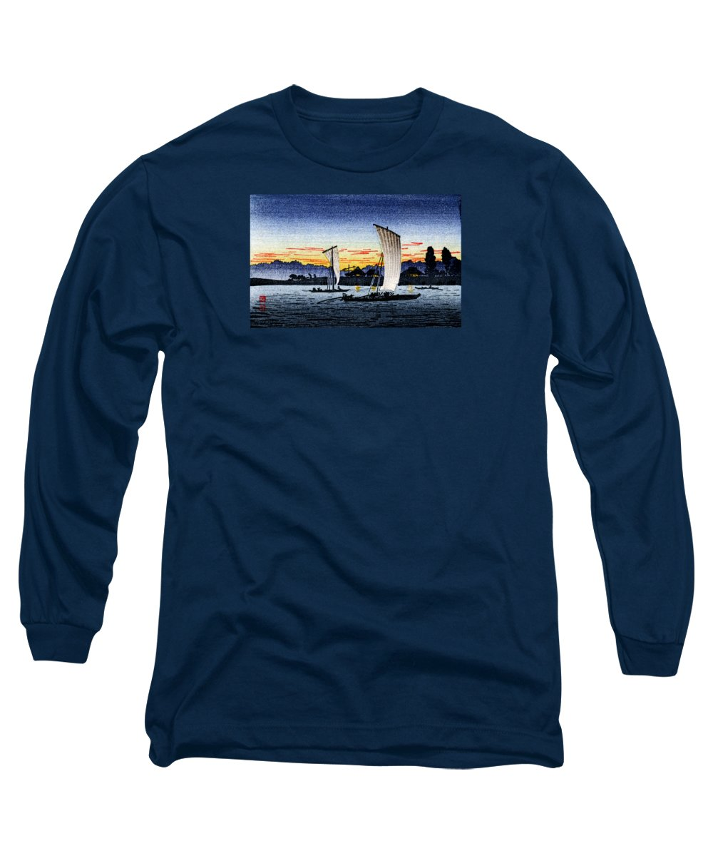 Japanese Long Sleeve T-Shirt featuring the painting 1900 Japanese Fishermen by Historic Image