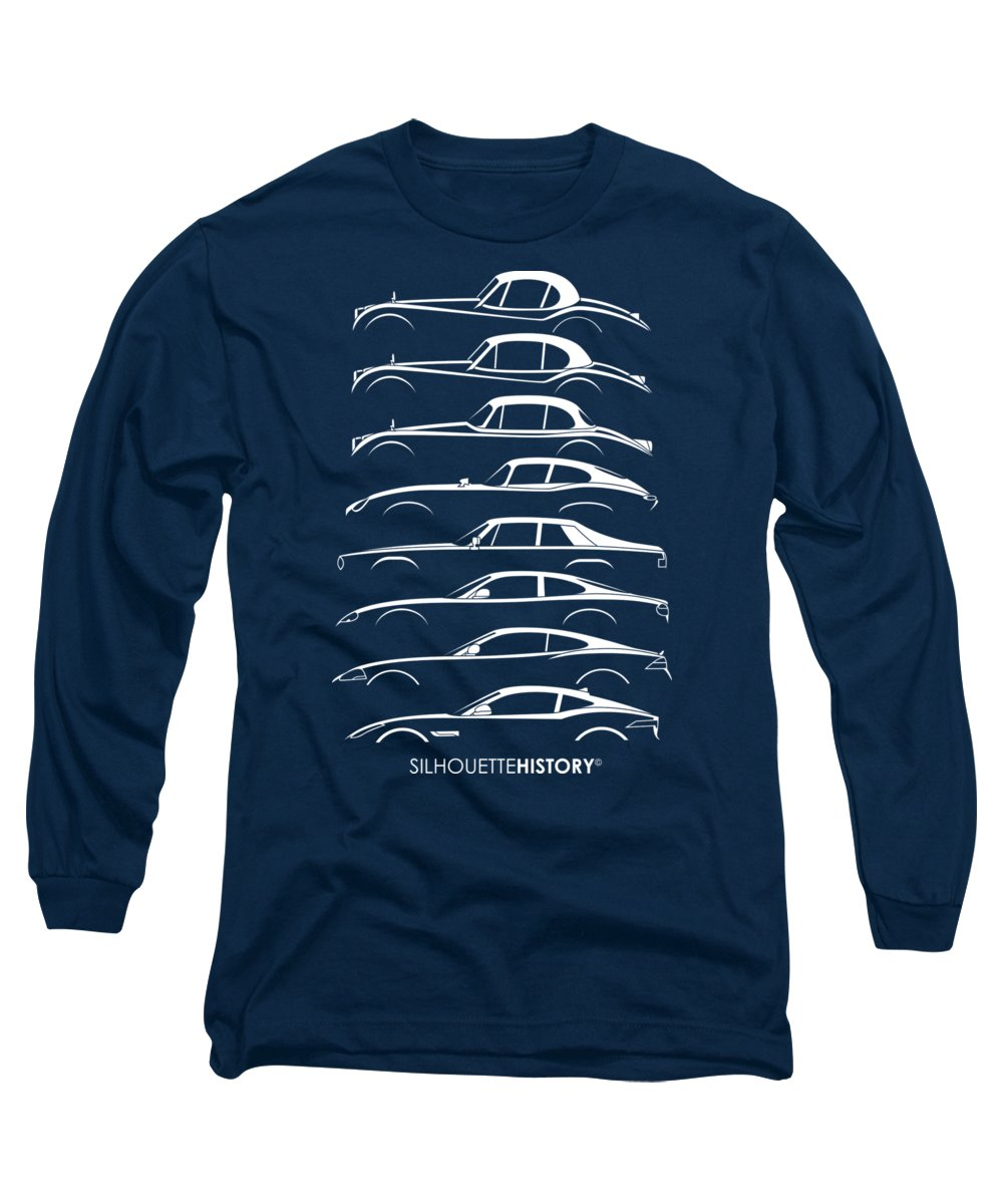 Sports Cars Long Sleeve T-Shirt featuring the digital art Big Cat Coupe Silhouettehistory by Gabor Vida