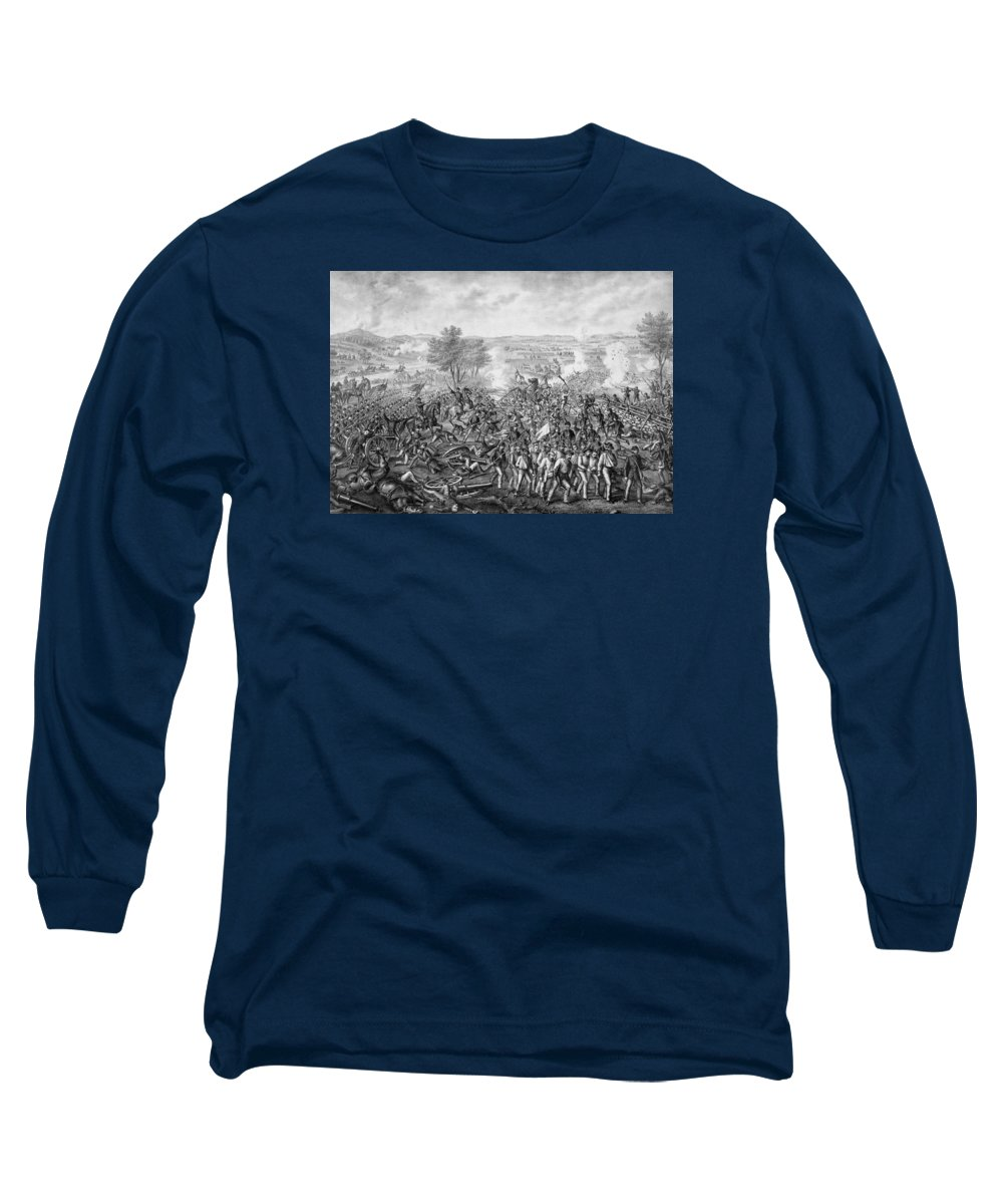 Civil War Long Sleeve T-Shirt featuring the mixed media The Battle Of Gettysburg by War Is Hell Store