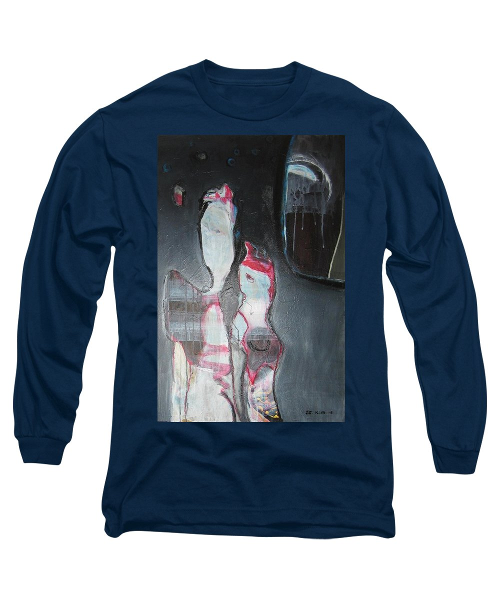 Abstract Paintings Long Sleeve T-Shirt featuring the painting A Flase Rumor by Seon-Jeong Kim