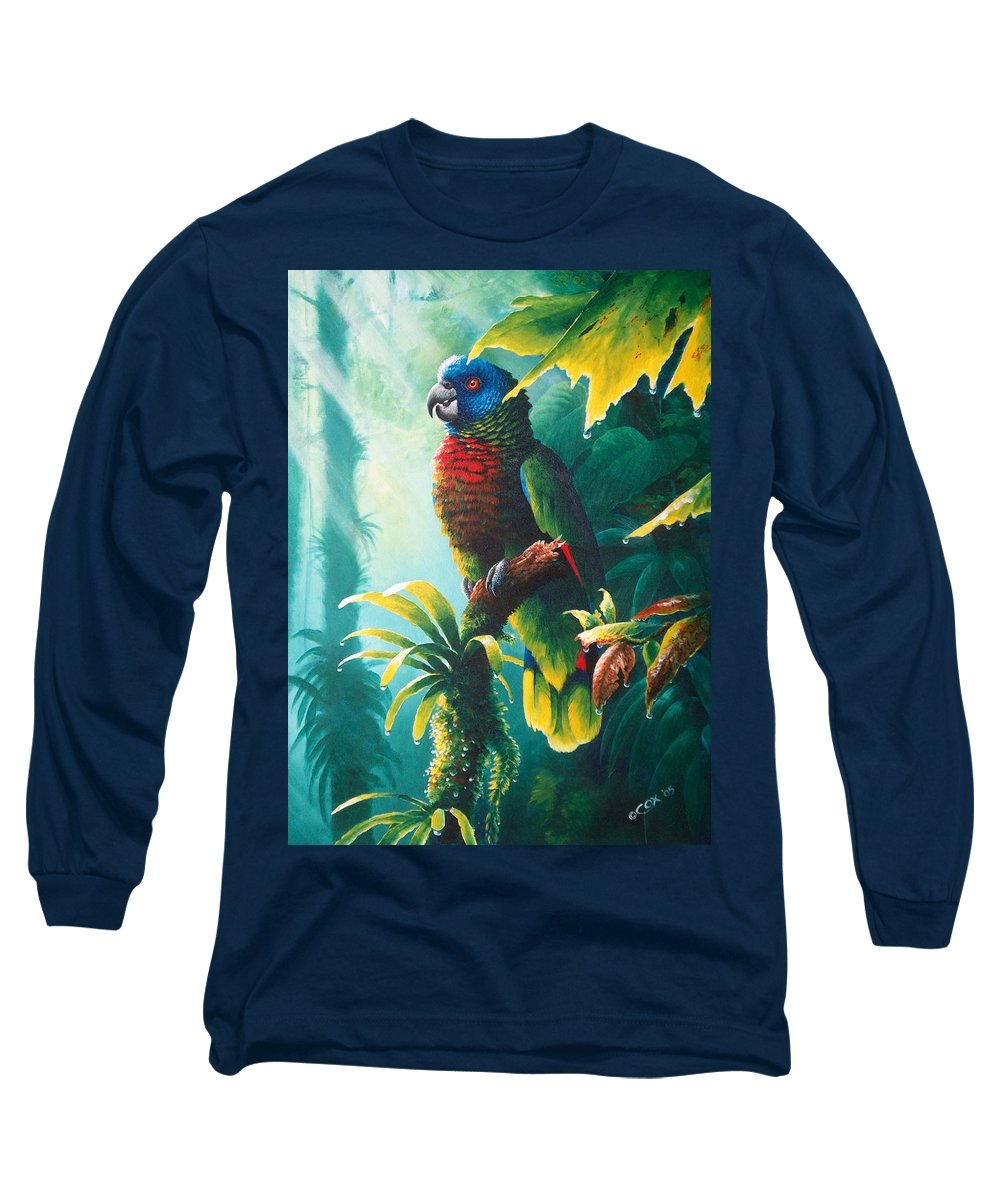 Chris Cox Long Sleeve T-Shirt featuring the painting A Shady Spot - St. Lucia Parrot by Christopher Cox