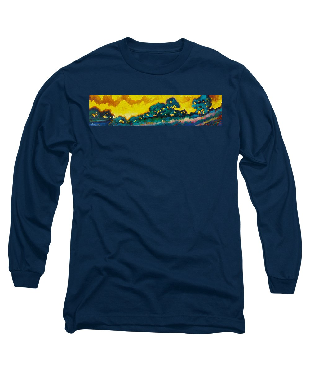 Abstract Long Sleeve T-Shirt featuring the painting Abstract 01 by Richard T Pranke