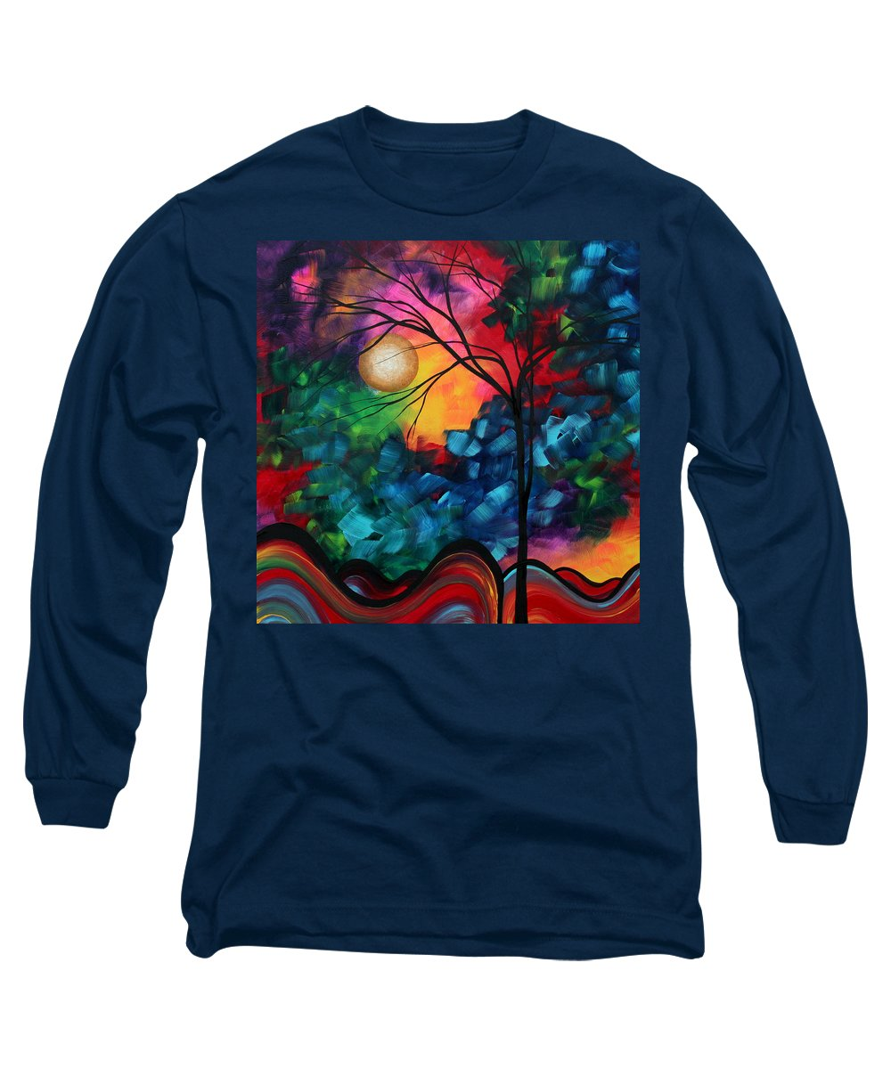 Abstract Long Sleeve T-Shirt featuring the painting Abstract Landscape Bold Colorful Painting by Megan Duncanson