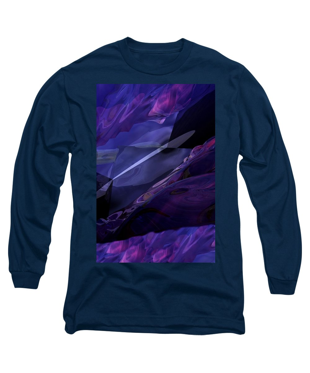 Abstract Long Sleeve T-Shirt featuring the digital art Abstractbr6-1 by David Lane