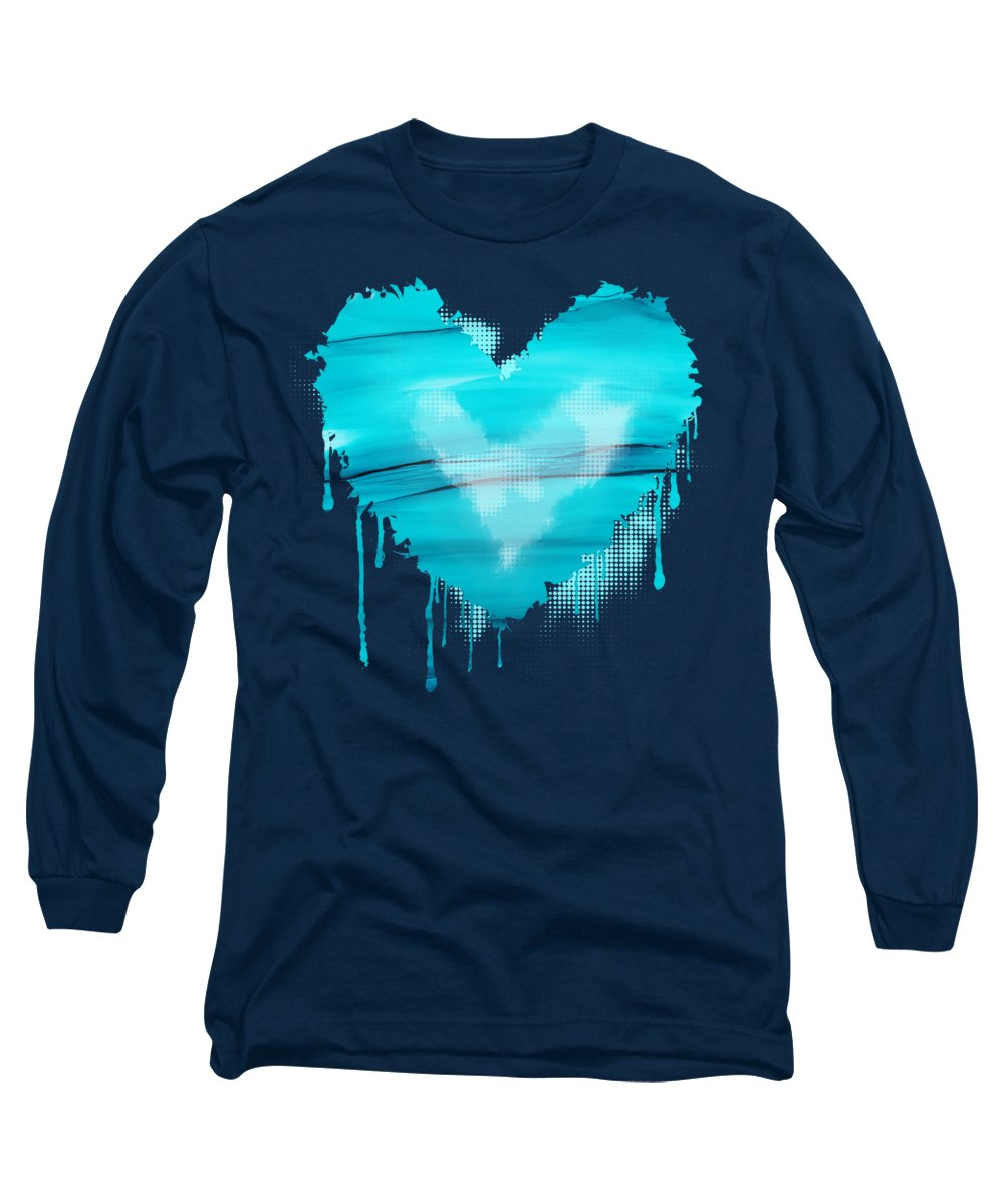 Blue Long Sleeve T-Shirt featuring the painting Adrift In A Sea Of Blues Abstract by Nikki Marie Smith